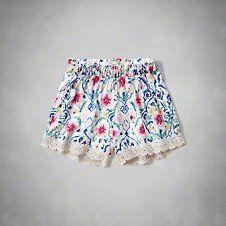 girls floral lace trim drapey shorts