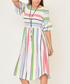 egs by éloges Pink & Green Stripe Ruffle-Sleeve Midi Dress - Women & Plus Western Dresses, Western Outfits, Midi Dress With Sleeves, Short Sleeve Dresses, Flowing Dresses, Modest Dresses, Floral Dresses, Fashion Sale, Green Stripes