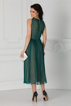 Rochie verde eleganta Aplicatie cu broderie la umar Fara maneci Green, Embroidery