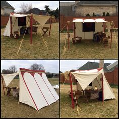 Saxon wedge tent, painted and set up as a day shade