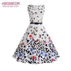 45e1e4672861 Avaliable now 2017 Casual Mother Daughter Dresses Clothes Retro Print  O-Neck Sleevesless Big Girl Children Dress Family Look Teenage Clothing