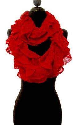 Stylish Red Knitted Ruffled Style Infinity Loop Scarf Peach Couture. $9.95
