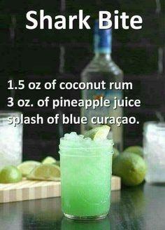 Shark oz coconut rum, 3 ozpineapple juice, and a splash of blue curaçao. - Vegan New Recipes alcohol recipes Shark oz coconut rum, 3 ozpineapple juice, and a splash of blue curaçao. Liquor Drinks, Cocktail Drinks, Alcoholic Beverages, Halloween Alcoholic Drinks, Disney Cocktails, Refreshing Drinks, Yummy Drinks, Yummy Shots, Alcohol Drink Recipes