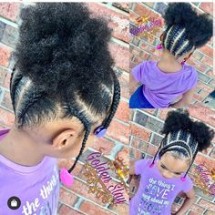 Cute cornrows and puffs Moisturized and beautiful Afro puffs with cornrows and braids! Natural hair styles for black girls / Girl hairstyles Toddler Braided Hairstyles, Toddler Braids, Black Kids Hairstyles, Cute Little Girl Hairstyles, Little Girl Braids, Baby Girl Hairstyles, Natural Hairstyles For Kids, Girls Braids, Natural Hair Styles