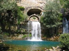 Afqa, in the Adonis valley. Nahr lbrahim (The river of Abraham) and a Roman era bridge.