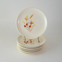 Vintage Bread Plates, Set of 10, Taylor Smith & Taylor, Autumn Harvest Ever Yours, Mid-Century Dinnerware Dishes, 1950's 1960's. $26.00, via Etsy.