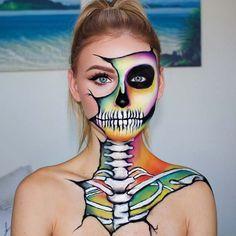 Colorful Skeleton Makeup for Halloween Unique Halloween Makeup, Halloween Makeup Looks, Unique Makeup, Scary Halloween, Natural Makeup, Halloween Skeleton Makeup, Scarecrow Makeup, Easy Makeup, Halloween Makeup Tutorials