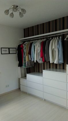 Ideas that improve natural light at home - Garderoba Malm Ikea Gard . - Ideas that improve natural light at home – Garderoba Malm Ikea wardrobe More – cul - Walk In Closet Ikea, Wardrobe Closet, Closet Bedroom, Malm Wardrobe, Ikea Open Wardrobe, Open Closets, Small Closets, Closet Space, Wardrobe Organisation