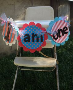 High Chair banner Dr. Seuss themed red blue white and black one two three on Etsy, $13.95