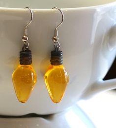 Yellow Christmas Bulb Earrings  Womens by SKWOriginalsbySummer