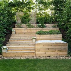 Take your patio layout design to the next level with our list of favorite ideas. Whether it is large patios, or fire pits you will find everything you need Backyard Ideas For Small Yards, Sloped Backyard, Sloped Garden, Garden Beds, Small Flower Gardens, Hillside Landscaping, Landscaping Ideas, Casa Patio, Garden Paths