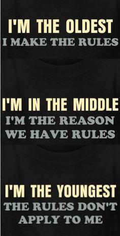 The rules t-shirt for the oldest, middle, and youngest child