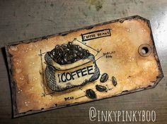 Used @tim_holtz #distresscrayons and #distressoxide to color this cute tag #freshbrewedblueprint #stamp and accented with #posca #pen #inkypinkyboo #mixedmedia #mixedmediaart #mixedmediaartist #coffee #coffeebeans