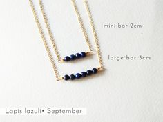 Lapis is the New Black! Birthstones layering necklace, minimal and dainty! Gems Jewelry, Gemstone Jewelry, Bar Necklace, Beaded Necklace, Birthstone Necklace, Gold Filled Chain, Personalized Jewelry, Birthstones, Necklace Lengths