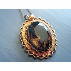 Vintage Pendant Necklace, Smoky Topaz, Quartz, Filigree, 14K GF,... (£35) ❤ liked on Polyvore featuring jewelry and necklaces