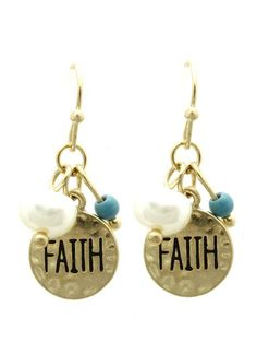Gold Hammered Metal Faith Dangle Earrings Round gold hammered disc charm…