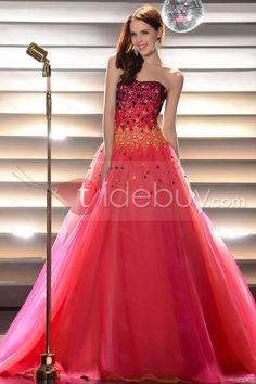かすかに光るビーズ床長さドレス