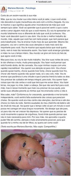 Carta de um recém-nascido à sua mãe, belo texto da Mariana BONNÁS