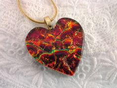 Dichroic Heart Pendant Fused Glass Valentines by AngelasArtGlass, $25.00