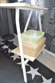 Käteviä säilytyslaatikoita pitämään harvemmin käytettävät tavarat pölyttöminä. Retrohenkinen peltilaatikko löytyi kirpputorilta ja sen alla on kenkälaatikko, joka on päällystetty ruskealla lahjapaperilla. www.mattokymppi.fi