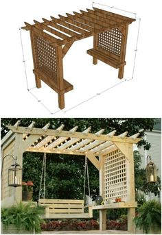 The pergola you choose will probably set the tone for your outdoor living space, so you will want to choose a pergola that matches your personal style as closely as possible. The style and design of your PerGola are based on personal Diy Pergola, Wooden Pergola Kits, Building A Pergola, Pergola Swing, Deck With Pergola, Outdoor Pergola, Covered Pergola, Outdoor Spaces, Outdoor Living
