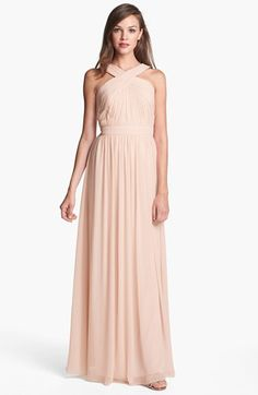 ML Monique Lhuillier Bridesmaids Crisscross Chiffon Gown (Nordstrom Exclusive) | Nordstrom
