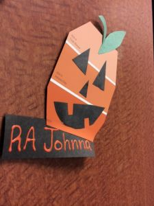 Halloween Door Decorations, perfect for RAs looking for some new ideas! Simple and completely free using paint chips from the store!