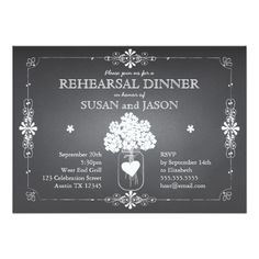 Chalkboard Wedding Rehearsal Dinner Mason Jar Custom Announcements