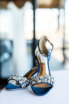 Blue gem-studded winter wedding shoes + something blue wedding idea {ST Photography}