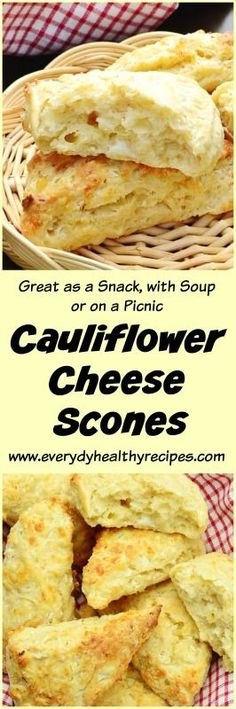 Cauliflower Cheese Scones These savoury Cauliflower Cheese Scones are perfect to add to your Sunday brunch menu or pop in your picnic basket or your child's lunchbox – they require minimal kneading and only 15 minutes in the oven! #scones #biscuits #cheese #cauliflower #brunch #healthysnacks #snackattack #easyrecipe #picnic #easylunchboxes #everydayhealthyrecipes
