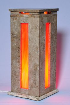 Mexican travertine stone lamp with red orange stained glass