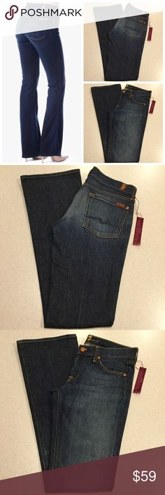 7 For All Mankind Jean 27X36 Bootcut New York Dark 7 for all mankind women's jeans Bootcut in New York dark (One of my all time favorite washes!) Size 27 36 inch extra long inseam (hard to find!) Dark blue wash with nice fading, blue signature squiggle pockets Super soft stretch denim Perfect new condition, no flaws! Retailed for $198.09 