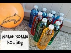 August Water Bottle Bowling - It's great to get outdoors for the last bits of summer and what better way than by playing a bowling lawn game! Using recycled materials work on social skills, turn taking, gross motor, and more with this fun project!