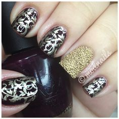 Plum stamped nails with gold caviar accent nail by ModNails