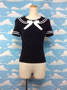 Sailor Short Sleeve T-Shirt (2014) in Black x Offwhite from Metamorphose - Lolita Desu