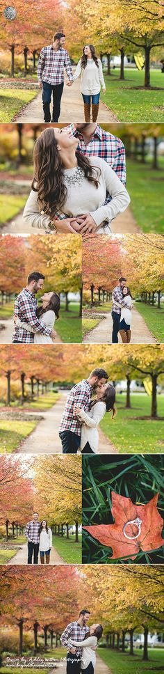 Pretty fall engagement pictures. Different couple poses for one engagement session. What to wear for fall pictures. Indianapolis Museum of Art.