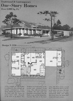 Home Planners Design by MidCentArc, Eichler Vintage House Plans, Modern House Plans, House Floor Plans, Vintage Homes, Modern Houses, Mcm House, Architecture Plan, Vintage Architecture, California Architecture