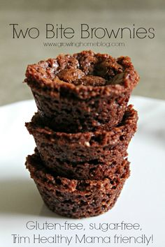 Two-Bite Brownies Gluten-free, sugar-free, Trim Healthy Mama friendly Trim Healthy Recipes, Trim Healthy Momma, Healthy Food Options, Low Carb Recipes, Real Food Recipes, Snack Recipes, Yummy Food, Banting Recipes, Paleo Ideas