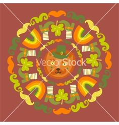 Stpatricks day colorful round with cat vector on VectorStock®