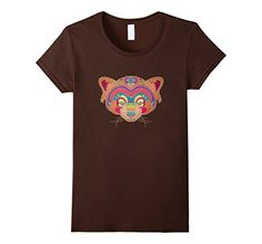 Women's Trippy Tribal Red Panda - Sugar Skull Inspired Animal T-Shirt - Tribal animal tee on Amazon!