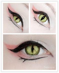 kitsune eye make up inspiration circle lenses color contact cosplay fox Makeup Fx, Beauty Makeup, Pink Makeup, Anime Eye Makeup, Makeup Style, Hair Beauty, Lolita Makeup, Kawaii Makeup, Contour Makeup