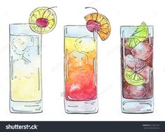 hand drawn set of watercolor cocktails Tequila Sunrise Cuba Libre John Collins Tom Collins on white background -食品及饮料,物体-海洛创意(HelloRF)-Shutterstock中国独家合作伙伴-正版素材在线交易平台-站酷旗下品牌