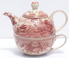 Red Toile Nesting Tea for One