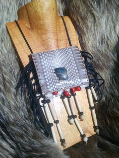 Spitting Cobra Snake Skin Leather Medicine Bag, Labradorite Cab, Buffalo Bone Beads, Huayruros, Achira Seeds