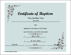 Blank Certificates Templates Free Download Amusing This Certificate Of Baptism Of A Christian Baby Child Or Adult .