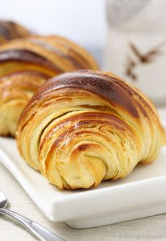 Wonderfully thin and crispy crust combined with buttery, soft, moist and flaky crumb make these croissants the best I have ever tasted.