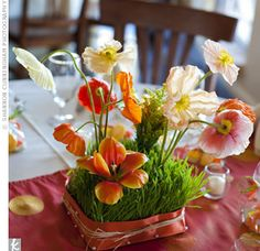 Low, garden-inspired arrangements of poppies, tulips and wheatgrass
