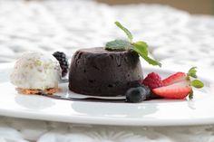 Chipotle-chocolate volcano cake, pistachio ice cream.