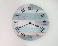 "Beach Wall Clock - 15 1/2"" wide beach wall hanging clock - Nautical Theme Clock for Beach Cottage or Coastal Decor."
