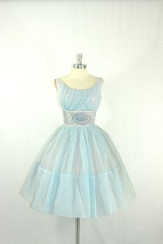 GASP again . . .  .Vintage 1950's Dress - Gorgeous Baby Blue Chiffon Sleeveless Full Skirt Party Prom Frock